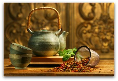 Asian herb tea on an old rustic table